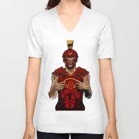 gladiator V-neck T-shirts featuring German Gladiator Podolski by Akyanyme