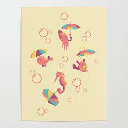 A Chance of Rain - Coral & Cream Poster