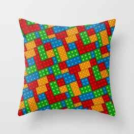 Building Blocks, Red Blue Green Yellow Bricks Throw Pillow