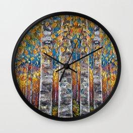 Colourful Autumn Aspen Trees Wall Clock