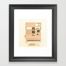Pink Pola Love vintage camera Framed Art Print