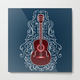 Acoustic Guitar With A Scroll Design Metal Print