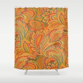 peach paisley Shower Curtain