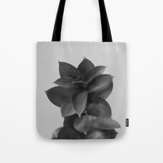 GREEN FOLIAGE BLACK on GREY Tote Bag