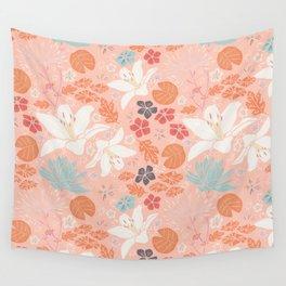 Orange Japanese pond florals Wall Tapestry