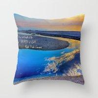 waldo Throw Pillows featuring Depth Of Life Quote Ralph Waldo Emerson by JuliaApostolova
