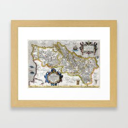 Map of the Kingdom of Portugal by Abraham Ortelius, dated 1560 Framed Art Print