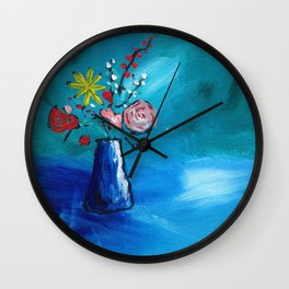 Beautiful Flowers in Vase Painting on Canvas Wall Clock