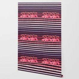 FUN STRIPES WITH FLAMINGOS Wallpaper
