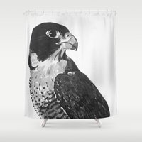 falcon Shower Curtains featuring Peregrine Falcon by waggytailspetportraits