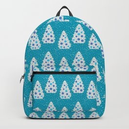 Minimalist Hand-painted White Christmas Decorated Pine Trees, Ice Blue Color and Beautiful Acrylic Texture, Winter Festive Pattern Backpack