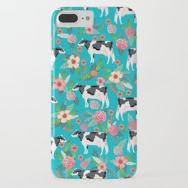 Holstein cattle farm animal cow floral iPhone Case