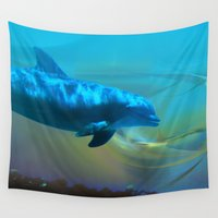 dolphin Wall Tapestries featuring Happy Dolphin by Roger Wedegis