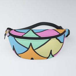 Preppy Waves Pattern Fishscale Pastel Rainbow Fanny Pack