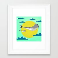 the whale Framed Art Prints featuring WHALE by mark ashkenazi