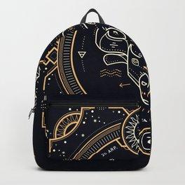 Taurus Zodiac Gold White Black Background Backpack