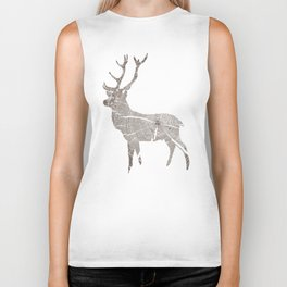 Wood Grain Stag Biker Tank