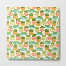 Happy Succulents Metal Print