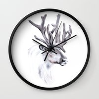 reindeer Wall Clocks featuring Reindeer by Libby Watkins Illustration