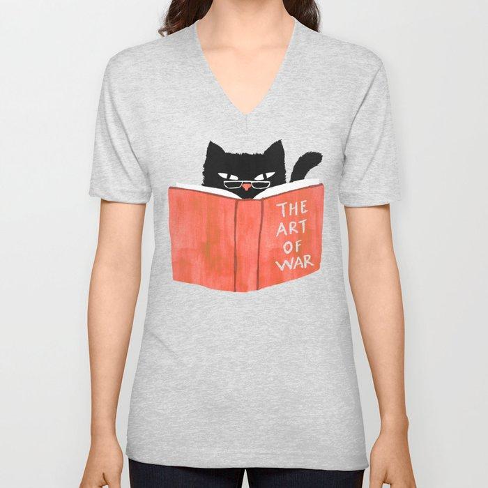 Cat reading book Unisex V-Neck