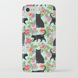 Black cat hawaiian cat breeds cat lover pattern art print cat lady must have iPhone Case
