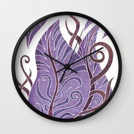 Leaf - Exotic Boho Leaf Pattern 02- Colorful, Modern, Tropical Art - Purple, Cosmic, Jagger Wall Clock