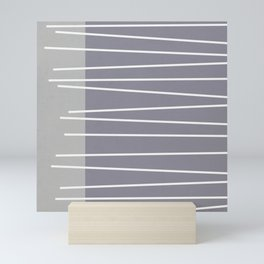 Mid century modern textured gray stripes Mini Art Print