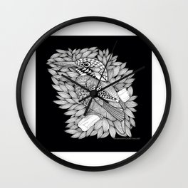 Zentangle Halcyon Black and White Illustration Wall Clock