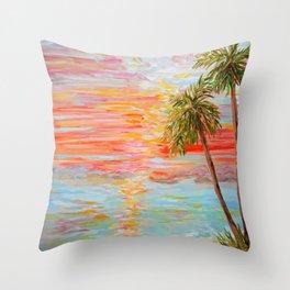 California Coast Sunset Throw Pillow