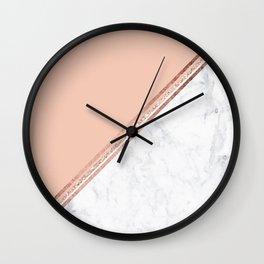 Modern stylish rose gold glitter geometric stripes blush pink white marble color block Wall Clock