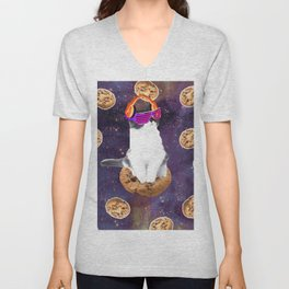 Rave Kitty Cat On Choc Cookie In Space Unisex V-Neck