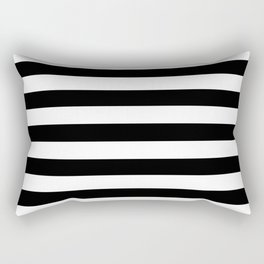 Large Black and White Horizontal Cabana Stripe Rectangular Pillow