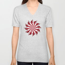 Red pattern - background abstract, vector, circle texture design. Unisex V-Neck