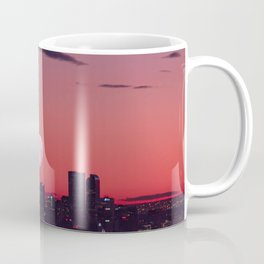 Super Moon City // View of Downtown Denver Colorado Redish Blue Skyline Coffee Mug