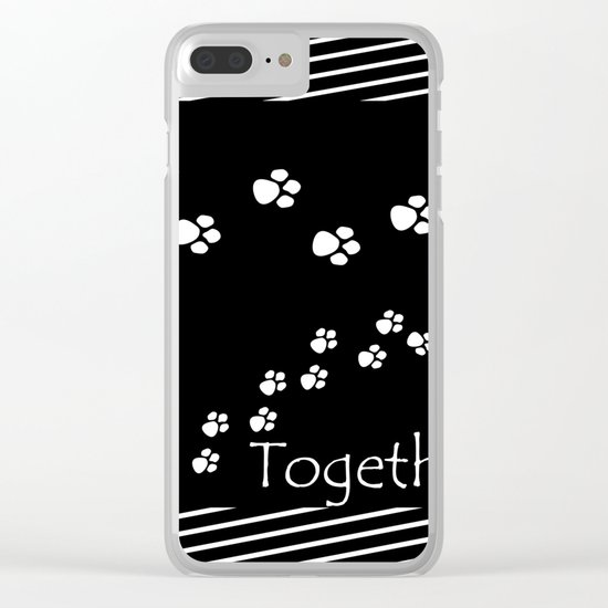 Together ! Black and white illustration . Clear iPhone Case