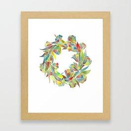 Colorful Floral Wreath Framed Art Print