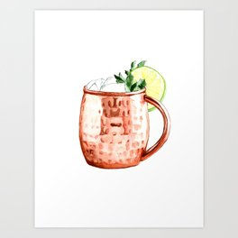 Cocktails. Moscow Mule. Watercolor Painting. Art Print