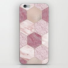 Carnation pink rose gold foil - marble hexagons iPhone & iPod Skin