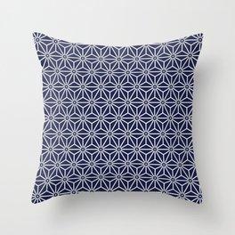 Japanese Yukata Jinbei Asanoha Navy blue Throw Pillow