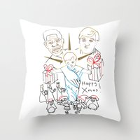 atheist Throw Pillows featuring Atheist Christmas by Braven