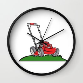Lawnmower Front Isolated Cartoon Wall Clock