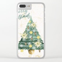 Christmas Tree Merry Christmas Clear iPhone Case