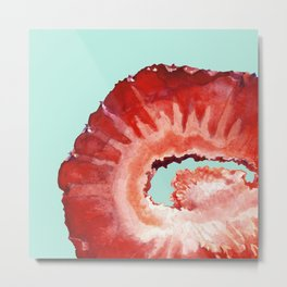 Strawberry on Mint Metal Print