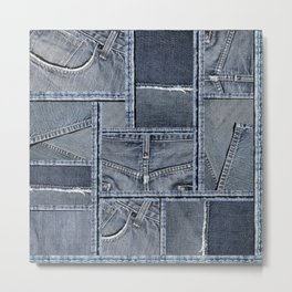 Blue Jeans Denim Patchwork Pattern Metal Print