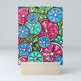 Citruses, Oranges, Lemons, Limes. Watercolor pattern Mini Art Print