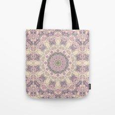 47 Wisteria Circle - Vintage Cream and Lavender Purple Mandala Tote Bag