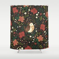 robin Shower Curtains featuring Christmas Robin by Anna Deegan