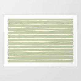 Dover White 33-6 Hand Drawn Horizontal Lines on Melon Green 18-28 Art Print