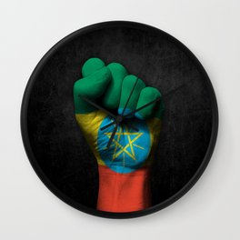 Ethiopian Flag on a Raised Clenched Fist Wall Clock