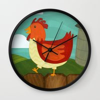 chicken Wall Clocks featuring Chicken  by Claire Lordon